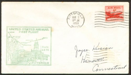 1st Air Mail Flight cover Albany NY Pittsfield MA 1953 (First Flight Airmail Cover)