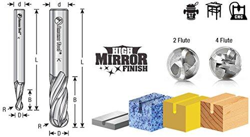 46446 Solid Carbide Up-Cut Spiral Ball Nose 1//4 Radius x 1//2 Dia x 3//4 x 1//2 Amana Tool