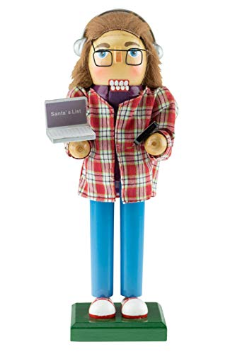 Clever Creations Software Developer Nutcracker | Developer Nutcracker Comes with Laptop and Cellphone | Wearing Plaid Shirt, Glasses and Headphones | Developer Nutcracker Stands at 10 Tall