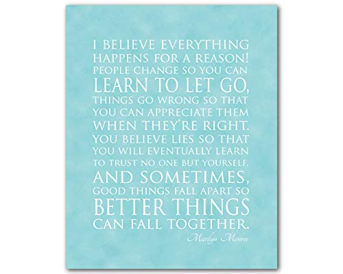 CANVASPrtint I believe everything happens a reason Marilyn Monroe Quote Typography Wall Art Inspirational quote Wall Decor Teen tween PRINT (Everything Happens For A Reason Marilyn Monroe)