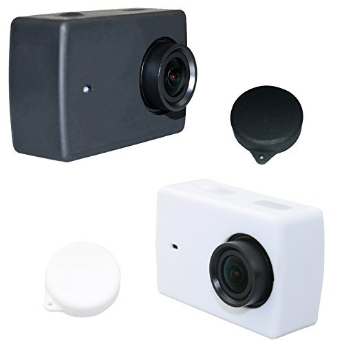 [2PCS] Deyard Silicone Rubber Protective Housing Case + Lens Cap Cover for Xiaomi Yi 4K/Yi 4K+ Plus/Yi Lite Action Camera - Black and White