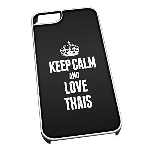 Bianco cover per iPhone 5/5S 2136 nero Keep Calm and Love Thais