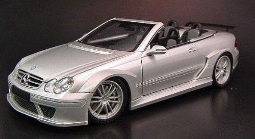 MERCEDES BENZ CLK CABRIOLET DTM STREET VERSION in SILVER Diecast Model Car in 1:18 Scale by Kyosho