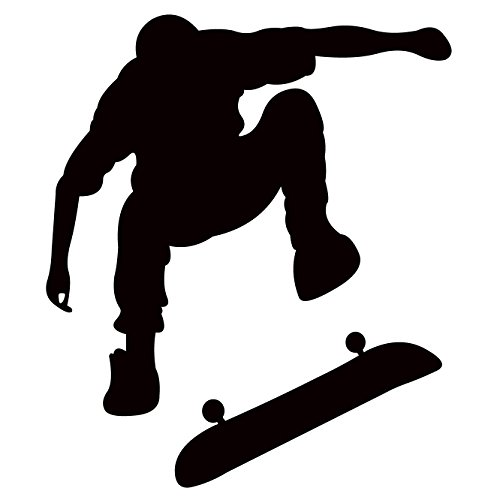 TheVinylGuru Skateboarding Wall Decal Sticker 4 - Decal Stickers and Mural for Kids Boys Girls Room and Bedroom. Skating Wall Art for Home Decor and Decoration Ð Skate Board Silhouette Mural