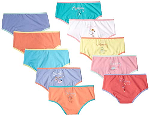 Spotted Zebra Big Girls' 10-Pack Bikini Underwear, Animals Days Of The Week, Medium (8) Day Of The Week Panties