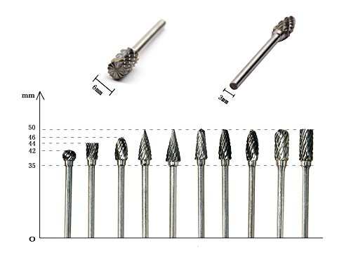YXGOOD 10 Pieces Tungsten Carbide Double Cut Rotary Burr Set with 3 mm (1/8 Inch) Shank and 6 mm (1/4 Inch) Head Size by YXGOOD (Image #3)