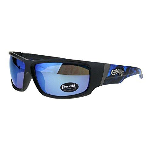 (Choppers Rectangular Biker Warp Around Flaming Arm Riding Sunglasses Black Blue Mirror)