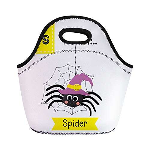 Semtomn Neoprene Lunch Tote Bag Cute Children Abc Alphabet Letter Tracing Flashcard of Spider Reusable Cooler Bags Insulated Thermal Picnic Handbag for Travel,School,Outdoors,Work -
