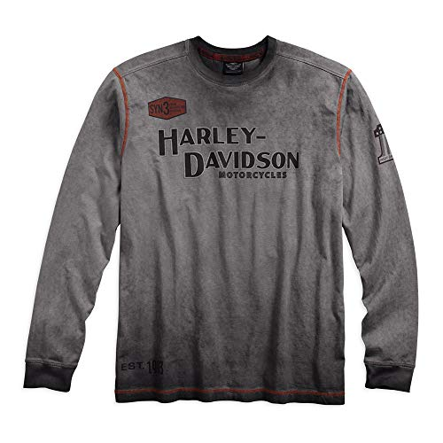 Harley-Davidson Official Men's Iron Block Long Sleeve Tee, Grey