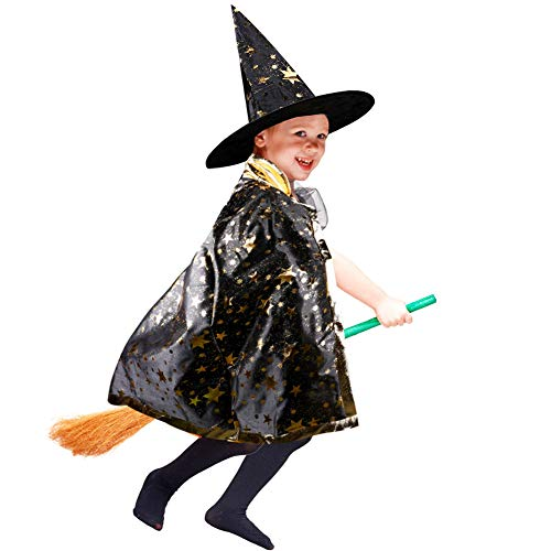 iYoYo Halloween Costumes Witch Wizard Cloak with Hat Wizard Cape and Hat Child's Party Costume for Kids Boys Girls Stars Pattern (Black)