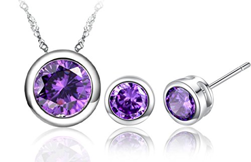 New Bezel Set (New Vaduga AAA Zircons Pendant Silver Necklace and Zircon Stud Earrings Jewelry Sets - Antiallergic jewelry sets for women (Purple))