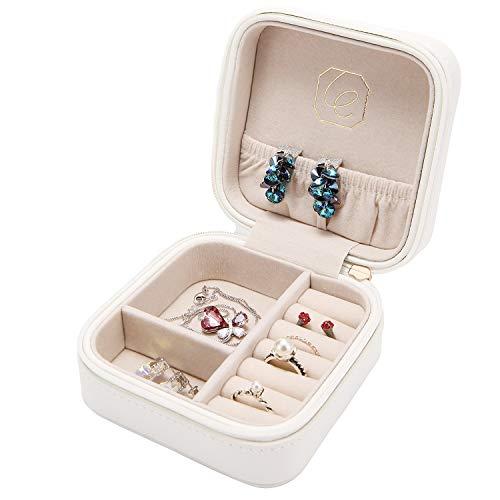 Case Ladies Jewelry (JL LELADY JEWELRY Small Jewelry Box Organizer Mini Travel Jewelry Case Portable Faux Leather Jewelry Organizer Boxes Storage Case for Women Girls, Gift Box Package (White))