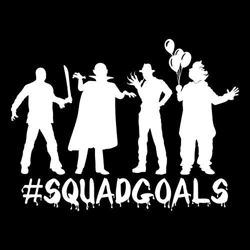 #Squadgoals Zombie Clown Monster Freddy Jason Vinyl Decal Sticker | Cars Trucks Vans SUVs Walls Cups Laptops | 7 Inch | White | KCD2651 for $<!--$7.95-->