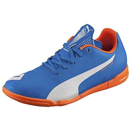 PUMA Evospeed 5.4 Indoor JR Soccer Shoe (Infant/Toddler/Little Kid/Big Kid) , Electric Blue Lemonade/White/Orange Clownfish, 5 M US Big Kid