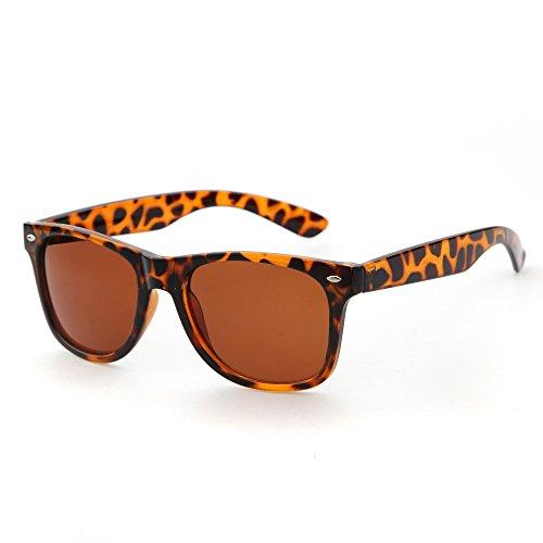 ADEWU Wayfarer Classic Windproof Revo Vintage Large Mirror Lens Leopard Sunglasses - Sunglasses Oval Shaped Best For Face
