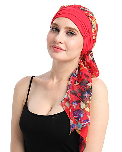 Bamboo Knits Fitted Turban Hat for Cancer Women DIY Easy Tie Chemo Bandana ()