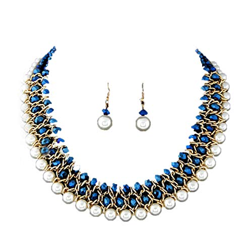 African Bead Jewelry Set (Blue African Bead Multilayer Necklace)