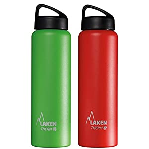 Laken Bundle - Thermo Classic Vacuum Insulated Stainless Steel Wide Mouth Water Bottle with Screw Cap, 34 Oz, 2-Pack Red and Green