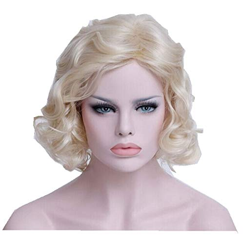 Marilyn Monroe Style Wig,Retro Party Hair Wig,Women's Curly Wavy Wig,Golden Beige Sexy Cosplay Wig