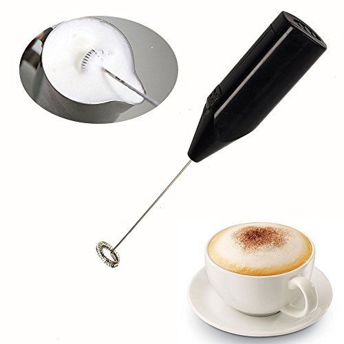 Electric Milk Frother with Stand for Chocolate Milk Coffee Tea Bar Kitchen Home Cappuccino Maker, Black