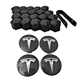 Hub Cover Kit, Aero Wheel Cap Kit for Tesla Model 3, Model S & Model X - 4 Hub Center Cap + 20 Lug Nut Cover