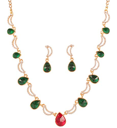 Touchstone New Indian Bollywood Desire Exclusive Mughal Vintage Cresecent White Rhinestones Fax Emeral Tourmaline Designer Jewelry Necklace Set Antique Gold ()