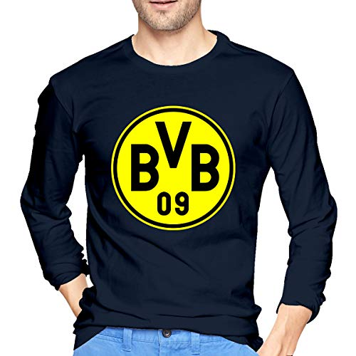 BAIDAFEILI Borussia Dortmund Men's Long Sleeve T-Shirt with Round Collar - Shirt Dortmund Borussia