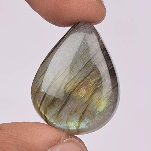 Real Gems 1 pc Pear Cabochon Natural Labradorite Gemstone, Flatback Stone for Jewelry Making, Certified 24.50 Ct Gemstone