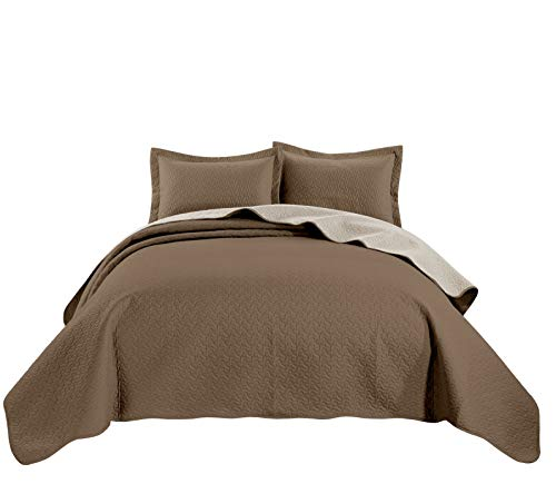 (Chezmoi Collection Mesa 3-Piece Oversized Reversible Bedspread Coverlet Set (King, Taupe/Ivory))