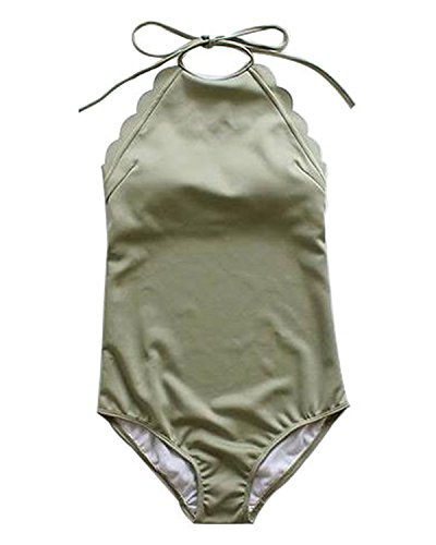 Value World High Neck Halter Low Back Scalloped Edge Monokini One Piece Swimsuit, Green, S
