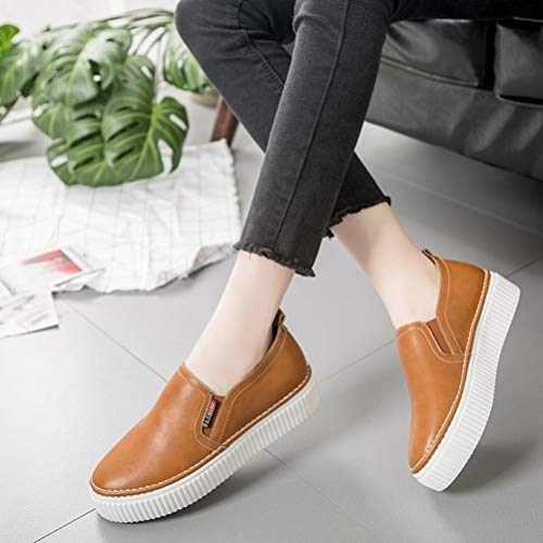 Piatte Ladies Sneakers Creepers Marrone Da Solid Scarpe Plateau Casual Slip Pelle Primavera E In Donna Con Ginnastica Mocassini On Shoes HaqFwYOO