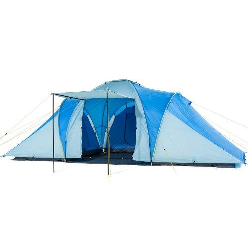Skandika Daytona XXL blau, hellblau Familien-Zelt für 6 Personen, wasserdicht durch starke 3000 mm Wassersäule. Großes, geräumiges und robustes Outdoor Camping-Zelt mit 3 Schlaf-Kabinen, Insekten-Netzen und über 2 m Stehhöhe