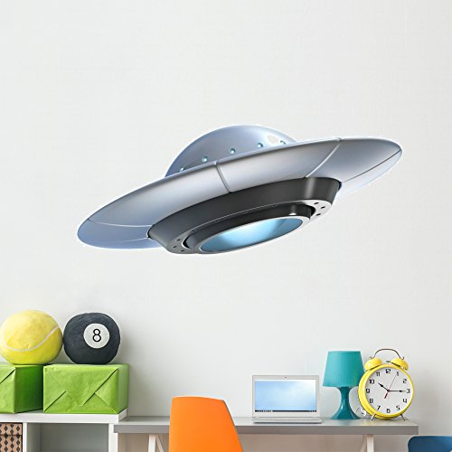 Wallmonkeys Alien Spaceship UFO Wall Decal Peel and Stick Decals for Boys (60 in W x 45 in H) ()