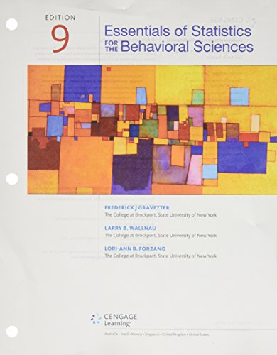 Bundle: Essentials of Statistics for The Behavioral Sciences, Loose-Leaf Version, 9th + MindTap Psychology, 1 term (6 months) Printed Access Card (Essentials Of Statistics For The Behavioral Sciences)