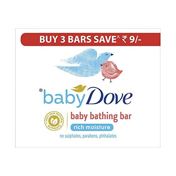Baby Dove Rich Moisture Bar- Hypoallergenic, No Parabens, No Sulphates, No Phthalates 75 g (Pack Of 3) -