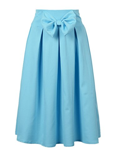 Persun Women Bowknot Front Pleat Midi Skirt, Blue, Small