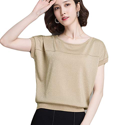 (Women's Casual Short Sleeve Knit Tops and Blouses Tees Sweater Khaki )