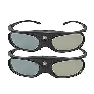 DLP Link 3D Glasses, ELEPHAS 144Hz Rechargeable Active Shutter Eyewear for All DLP-Link 3D Projectors-- Acer, ViewSonic, BenQ Vivitek, Optoma, Panasonic, Dell, Viewsonic etc (2 Pack)