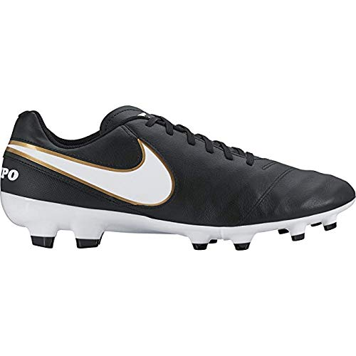 - Nike Tiempo Genio Leather FG Men's Black/White-Metallic Gold Noir/Blanc Shoes - 10
