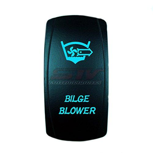 STV Motorsports Laser Blue Rocker Switch BILGE/BLOWER 20A 12V ON/OFF LED Lighted for Boat Marine Applications