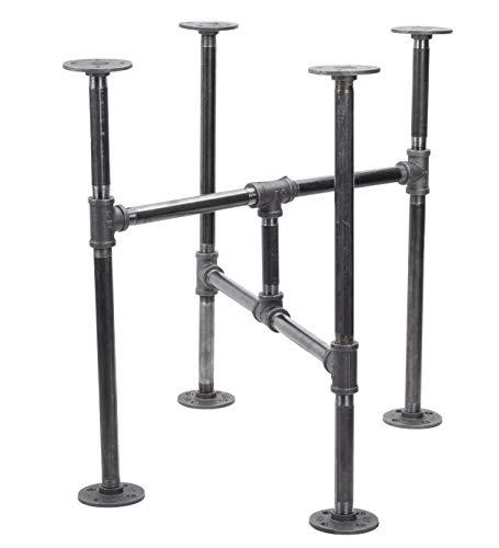 Industrial Pipe Decor Table Leg Set, Rustic End Table Side Table Base Kit, Dark Grey/Black Steel Metal Pipes Vintage Furniture Decorations DIY Coffee Table Legs Mid Century Modern, Turnpike Style (Modern Table Legs)
