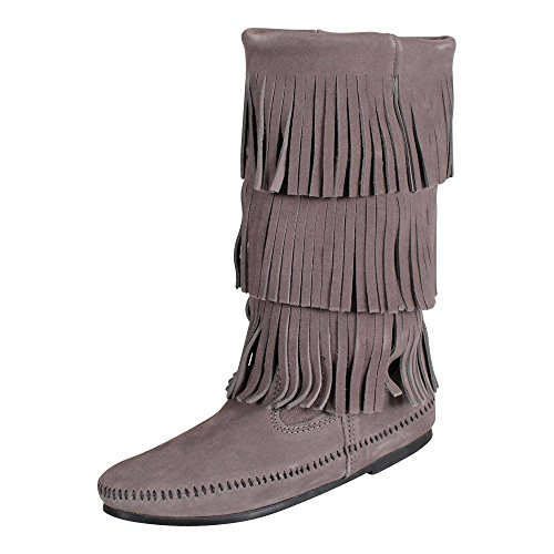 - Minnetonka Women's Calf Hi 3-Layer Fringe Boot Grey Suede 9 M