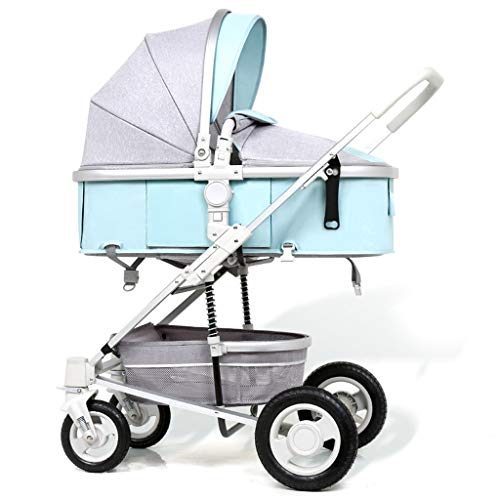 JIAX Foldable Baby Stroller,Travel System with Baby Basket Anti-Shock Springs Newborn Baby Pushchair Adjustable High View Pram Travel System Infant Carriage Pushchair (Color : Style 3)
