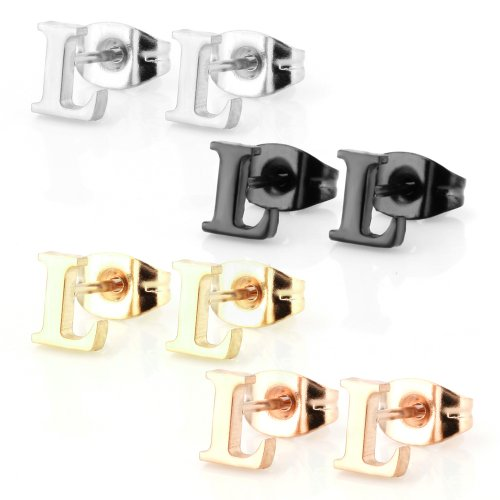 Stainless Steel Alphabet Letter Initial Stud Earrings Hypoallergenic Yellow Gold Rose Gold Black Plated (Letter L x 4 Pairs)
