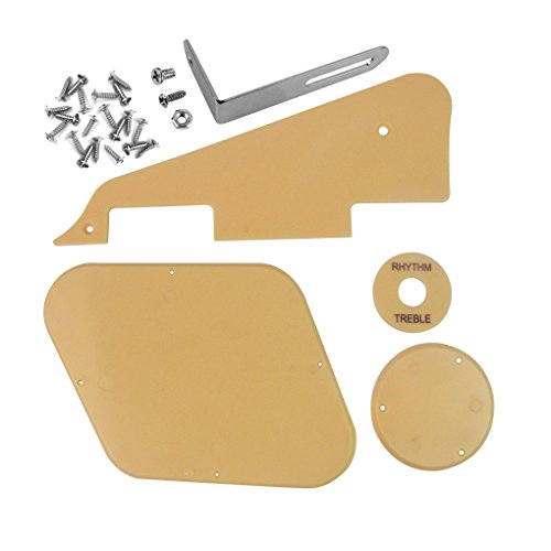 IKN 1set Cream Pickguard/Cavity/Switch Covers/Pickup Selector Plate/Bracket/Screws for LP Style Guitar Replacement