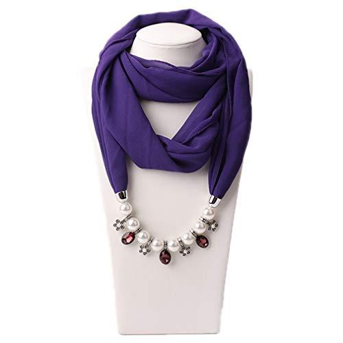 Femeninos Mujer 14 Perlas Gasa Joyería Para Abrigo One Bufanda Accesorios Size 1 La Bufandas Collares Kaoling Colgante Collar AOYppq