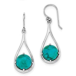 ICE CARATS 925 Sterling Silver Reconstituted Blue Turquoise Shepherd Hook Drop Dangle Chandelier Earrings Fine Jewelry Ideal Gifts For Women Gift Set From Heart