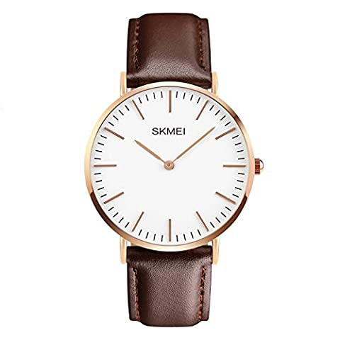 Mens Luxury Leather Strap Simple Business Casual Rose Gold Case Wrist Watch brown (Gold Versus Watches For Men)