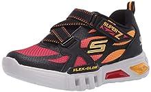 Skechers Kids Boys' Flex-Glow-Lowex Sneaker, Black/Red, 12 Medium US Little Kid