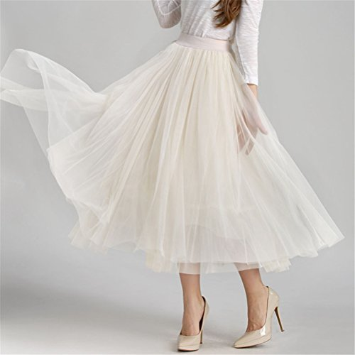 A Taille Tulle Ligne en Longue Abricot Plisse Jupe FuweiEncore Taille Femme Haute Jupe Elastique wf1Z8
